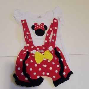 NEW Minnie mouse  bow overall shorts red